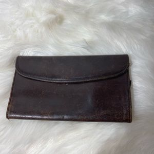 Coach dark brown vintage leather wallet, cc slots
